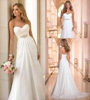 2015 Vestidos De Novia Summer Beach Empire Wedding Dresses V...