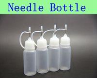 50pcs Bouteilles d'aiguille MOQ bouteille 10ml vide pour eGo série Cigarette électronique E-cig Bouteilles en plastique gouttes d'aiguille