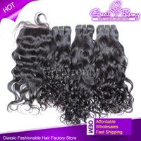 Natural Wave Lace Closure(4*4) With 3pcs Bundles Full Head B...