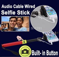 Audio Cable Wired Selfie Stick Extendable Handheld Tripod Mo...