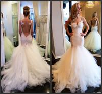 Vintage Lace Mermaid Backless Свадебные платья Sheer Болеро Милая See Through Puffy Люкс Свадебное платье Платья 2015 Vestidos де Novia