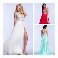 Red Backless Prom Dresses with Crystal Beading 2015 New Side...