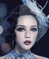 2015 Vintage Перья Свадебный чародей лица фата невесты Тюль Birdcage чародей Свадебные шляпы Свадебные лица фата Свадебные аксессуары для волос