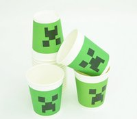 Minecraft Paper Cups toys Figures Creeper Face Drinking Cup ...