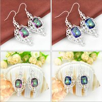 Free Shipping- - 5prs Mix Color Lucky Shine Square Shaped Rain...