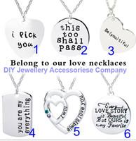 48pcs 40 + 5cm mixte 6 modèles collier pendentif l'amant de valentine collier pendentif femmes filles cadeau chaîne 2MM 50cm