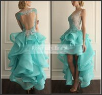 Hot Vestido High Low Backless Prom Dresses Lace Applique Org...