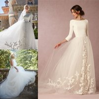 Modest Bohemian Princess Style Graceful Bridal Gowns Long Sl...
