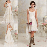Two Pieces Wedding Dresses 2016 New Sexy Spaghetti Lace A Li...