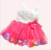 Hot!Cheap! 2014 summer girls dress girls rose petal hem dres...