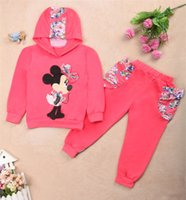 4 Color Children Minnie flower dot Hoodies suits 2015 NEW gi...