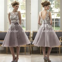 2015 Knee length Colorful Bridesmaid Dresses with White Lace...