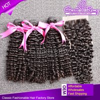 Human Hair Weave Weft Curly Brazilian Hair Bundles With 1pc ...