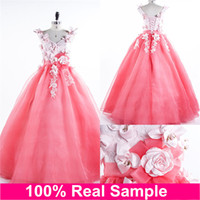 2016 New Cheap Colorful Quinceanera Dresses Applique V- Neck ...