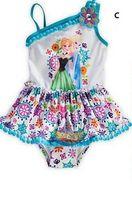 Cinderella Lace Girls Swimsuits Dresses Frozen Swimwear Anna...