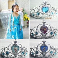 Bulk Frozen Elsa Anna Sapphire Rhinestone Crown Jewelry Sets...