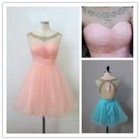 2015 Real Images Homecoming Dresses with Sheer Lace Scoop Gr...