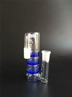 Livraison gratuite 2015 nouveau verre bongs pipe d'eau Blue Glass Ash Catcher avec trois couches de nid d'abeille perc 18.8mm