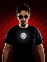 2015 Cool Iron Man T- shirt with Voice Control EL Flashing LE...
