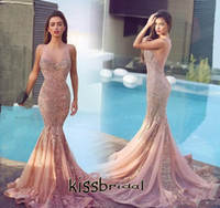Модные 2016 года Blush Mermaid шнурка платья выпускного вечера шею рукавов Тонкий аппликациями Sheer назад суд поезд Вечерние платья вечерние платья