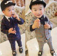 Boys Clothing Set 2016 Autumn clothe Style Grid Kids boy Sui...