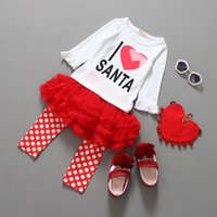 "Baby Kids Girls "" I Love Santa"" Top & Polka Dots Tu..."