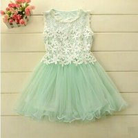 Baby girl kids vintage princess lace dress flower tutu dress...