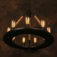 Vintage Chandelier Industrial Edison Lamp American Style Iro...