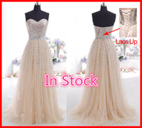 Champagne Prom Dresses Sparkling Crystals Beaded Sequins Cor...