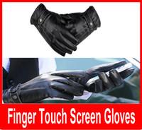 Мужчины Черный зима теплая кожа Полный Finger Мотоцикл перчатки Мода Сенсорный экран перчатки мотоцикл водонепроницаемый ветрозащитный
