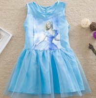 Cinderella Girls Dresses 2015 Summer Girl Lovely Cartoon Pri...