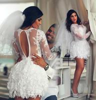 2016 Vintage Short Lace Wedding Dresses High Neck Long Sleev...