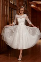 Graceful 2015 A- Line Short Mid- Calf Wedding Dresses Boat Nec...