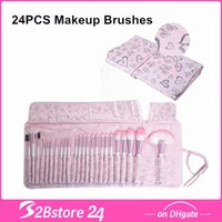 24Pcs Pink Make Up Cosmetic Brush Set Kit Makeup Brushes wit...
