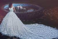Роскошные свадебные платья 2016 года Кружева 3D-цветочные Свадебное платье аппликации Урожай Свадебные платья Милая бисером принцесса Дешевые свадебные платья