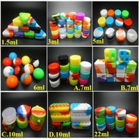 Récipients en silicone pour boîte en cire de silicone réutilisable en cire DAB 6 + 1 2 en 1 étui en silicone 1.5ML / 3ML / 5ML / 6ML / 7ML / 10ML / 22ML