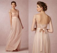 New Blush Cap Sleeves Long Lace Tulle Bridesmaid Dresses 201...