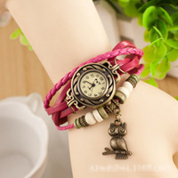 Vintage Crochet Multi Color For Big Girls Leather Watches Wo...