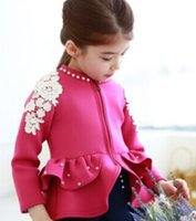 Pearls Collar Girls Coat Long Sleeve Children Girls Jacket K...