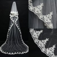 2015 Romatic Real Image Lace Tulle Wedding Veils Applique Ed...