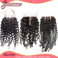 Indian Virgin Unprocessed Human Hair Top Lace Closure Curly ...