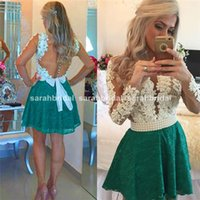 2015 Long Sleeve Wedding Evening Prom Dresses Sheer Lace Bea...