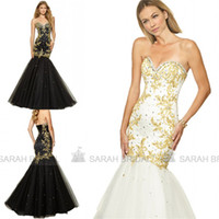 Top Selling Long Prom Dresses with Gold Lace Appliques For 2...