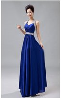 New Bridesmaids Dresses V Neck Halter Beads Crystals Sexy Be...
