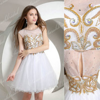 2015 White and Gold Tulle Homecoming Back to School Dance Dr...
