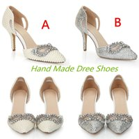 White Silver Rhinestone Crystal Pearls Wedding Bridal Shoes ...