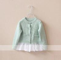 baby girl kids knit lace sweater coat cardigan blazer lace c...