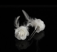 Vintage Bridal Wedding Hair Pins Girl Feather Lace U Hairpin...