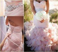 2015 Румяна Розовый Милая Русалка Свадебные Платья с Органза Поезд стреловидности Узелок Плюс Размер Свадебные платья Церкви