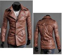 Men Leather Jacket Washed leather Winter Warm Jackets lapel ...